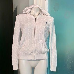 Ralp Lauren Sport White Hoodie Knit Sweater